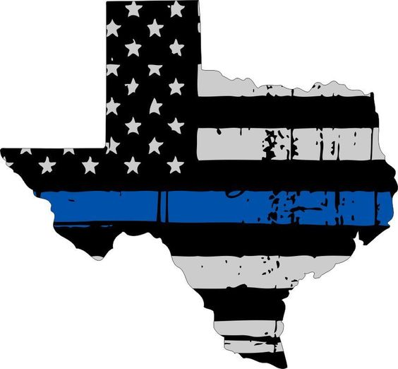 Tattered thin blue line state of texas decal 4 x 4 3 for Texas thin blue line shirt