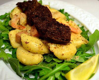 Gnocchi with shrimp, ham & creamy mustard sauce.