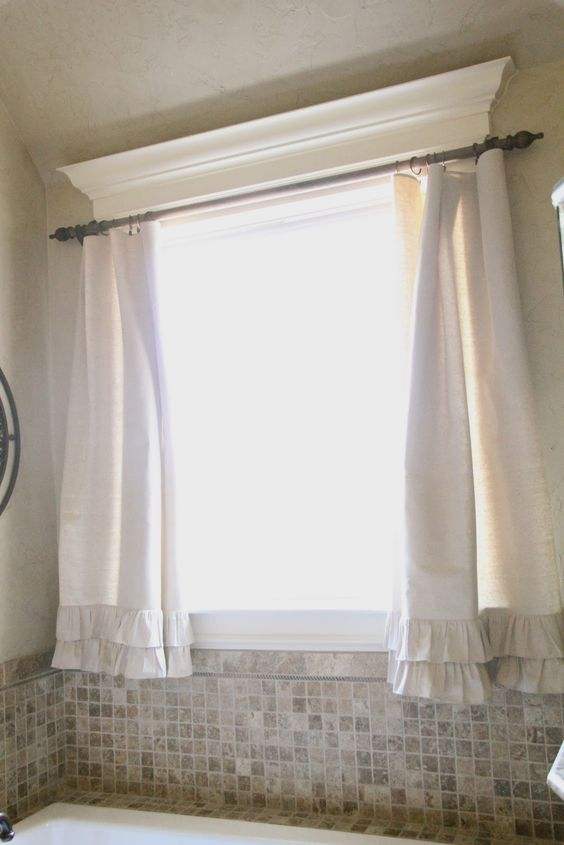 Curtain rods window crown moldings and love the on pinterest Bathroom window curtains