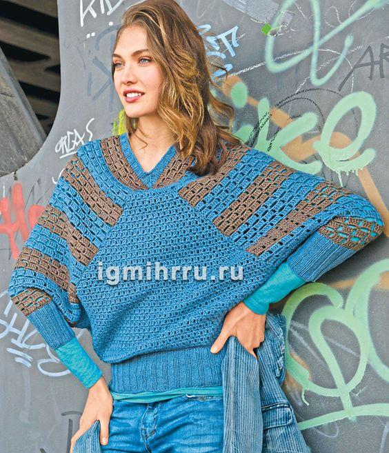Пуловер с полосами на рукавах покроя «летучая мышь». Вязание крючком