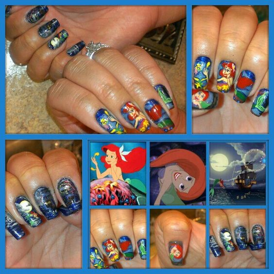 The Little Mermaid Nail Art by Melgin Wright