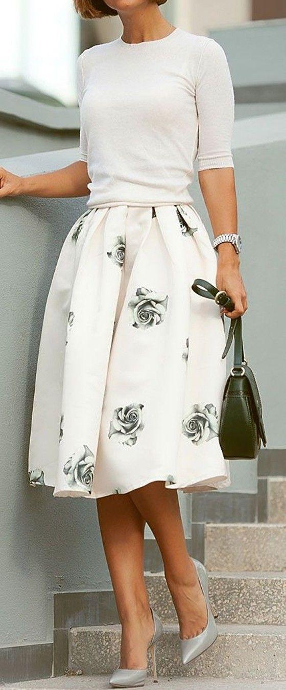 Grey Rose Print Pleated High Waisted Knee Length Sweet Elegant Skirt - Skirts - Bottoms: