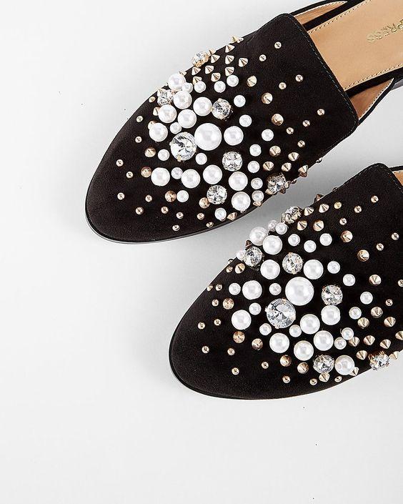 Pearl-Studded Slide Loafers