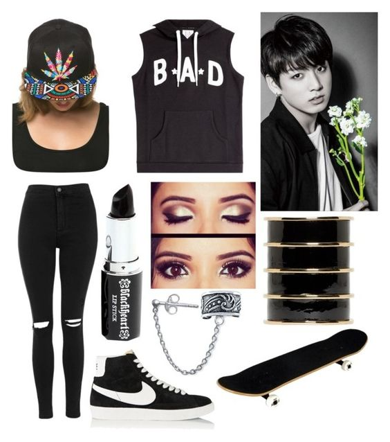 """""""Badass day with Jungkook """" by btsislife7 ❤ liked on Polyvore featuring Zoe Karssen, Topshop, NIKE, Bling Jewelry and Balmain"""
