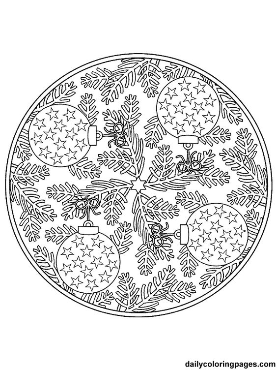 Detailed Coloring Pages For Adults Mandala Christmas Detailed Ornament Coloring Pages