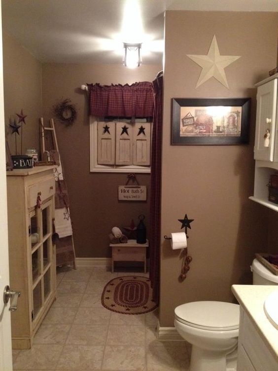 Cute country bathroom idea country prim bath pinterest for Images of country bathrooms