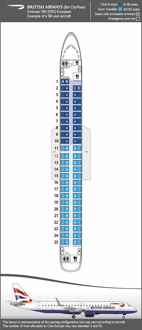 Seat Map And Seating Chart Embraer E190 Ba Cityflyer London City Airport London Stansted Airport Fleet