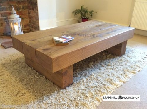 Oak Beam Sleeper Coffee Table Solid Rustic Handmade Chunky Wood Unique Beams And