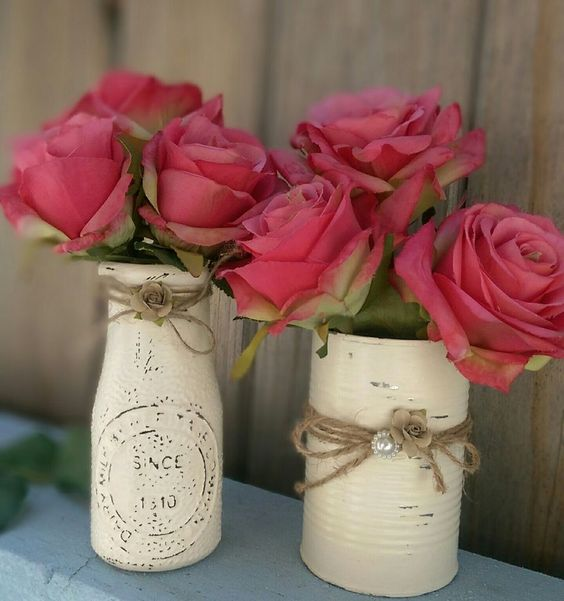 Rustic Shabby Chic Painted Milk Bottle & Tin Can, Vase, Centerpiece, Home Decor #Cottage: