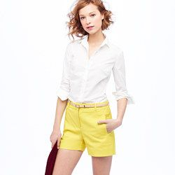 Boy shirt in classic white and those cute yellow shorts...