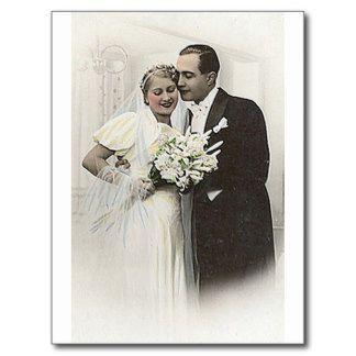 Fotos românticas antigas dos noivos do vintage cartão postal