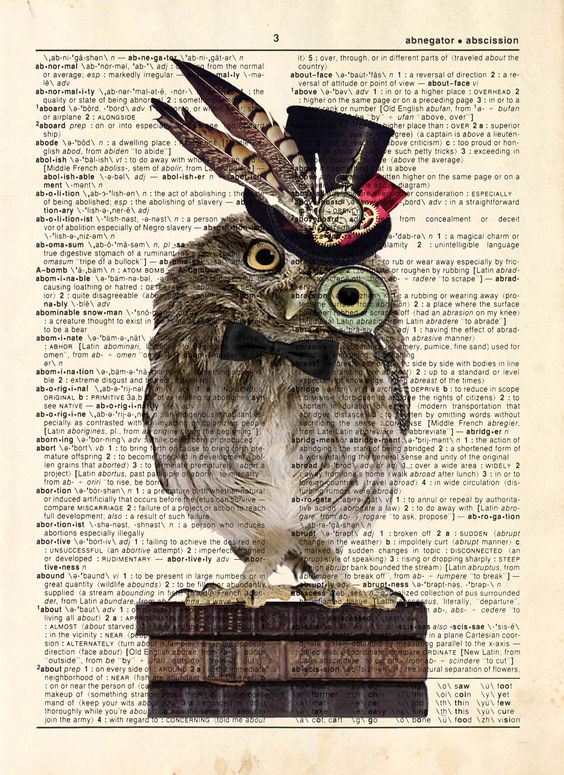 "Dictionary Print: - ""Wise Hipster Owl "" - up-cycled vintage book page, whimsical, geek gift, gift for her, steampunk art:"