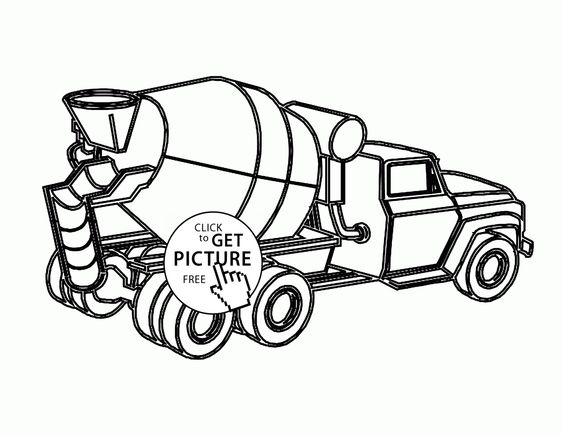Cement Mixer Coloring Page For Kids Transportation Coloring Pages