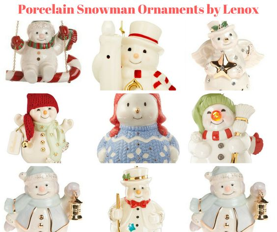 Porcelain Snowman Ornaments by Lenox