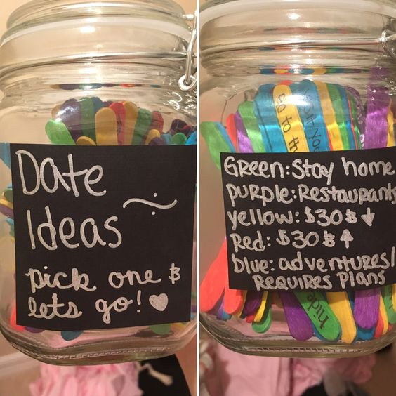 125 colored popsicle sticks-$5. Mason jar-$4. 100 date ideas!