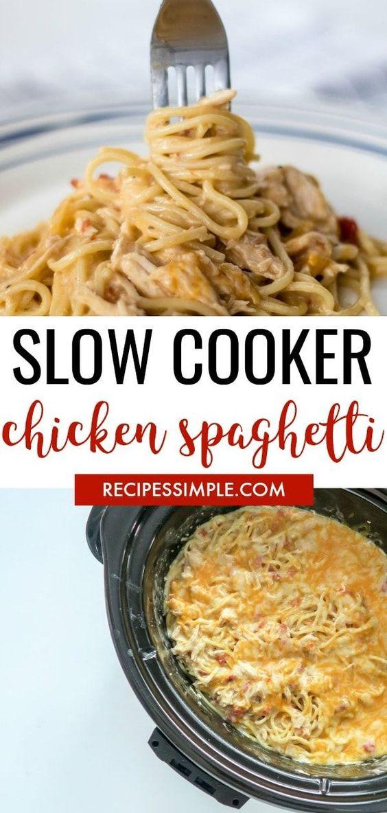 Slow Cooker Rotel Chicken Spaghetti