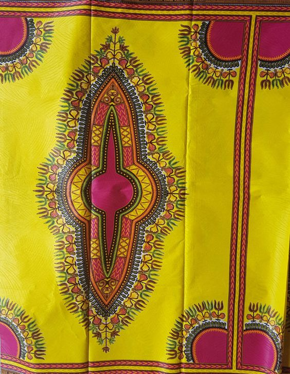 Yellow and Pink Dashiki Fabric/ Dashiki/ by AnkaraAfricanFabric