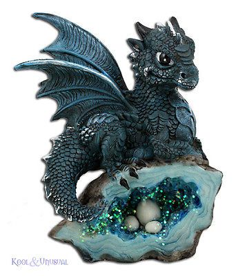 Beautful Little BLUE Dragon Statue on Turquoise Crystal Cave with Eggs
