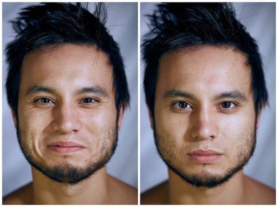 Fotos mostram como rosto das pessoas muda quando elas ficam nuas