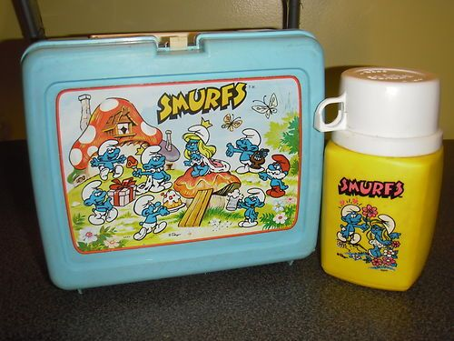 "Vintage Retro Complete ""The Smurfs"" Plastic Lunchbox Kit Pail w Thermos 
