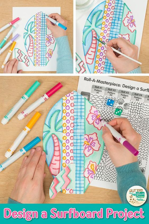 Searching for unique summer art projects for kids that your students will love? Try this surfboard roll-a-dice art game! Going to be absent? Fill up your 5th grade art sub plans folder with no-prep art projects like this. Use the included writing prompts to make a beautiful, educational bulletin board display. Great for classroom teachers and homeschooling parents looking for art integration lessons. | Glitter Meets Glue