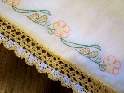 Flowing Florals Pillow Cases White Handmade by CottonCrochetCloset, $30.00