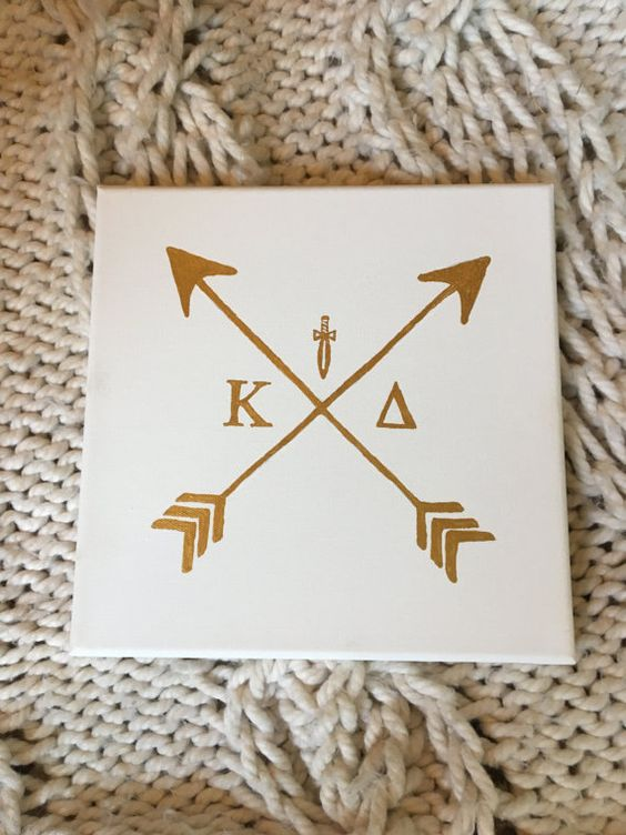 Arrow Sorority Custom Canvas White and Gold by BayofSunshine