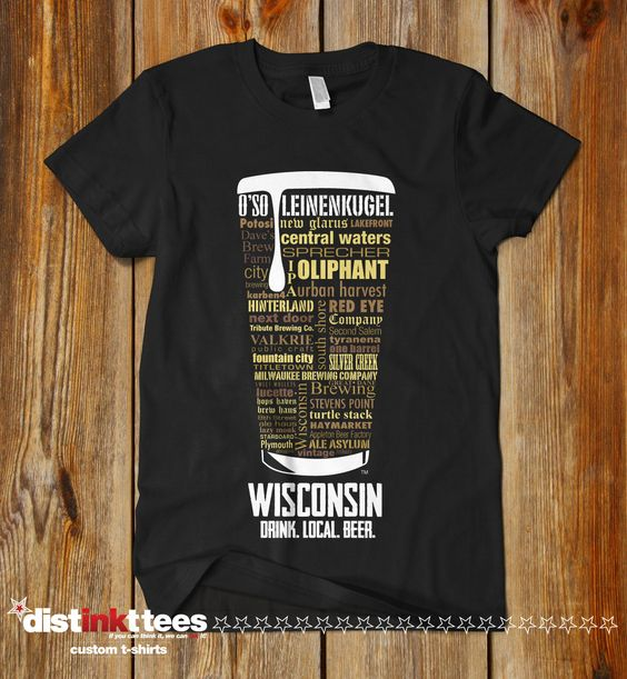WISCONSIN CRAFT BEER Typography T-shirt, Drink Wisconsin Craft Beer Shirt, Fathers Day, Oktoberfest, Hops Tee, Hoppy shirt by DISTINKTTEES on Etsy