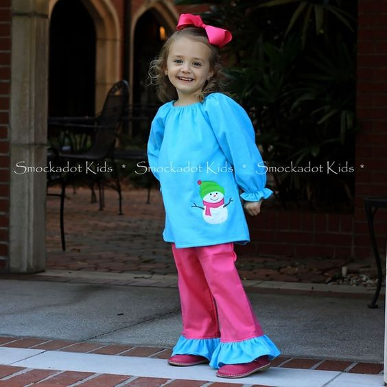 12/10/12  Turquoise & Pink Flannel Snowman Pants Set