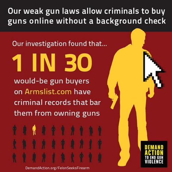 Our weak gun laws allow criminals to buy guns online without a background check. Demand Action ...