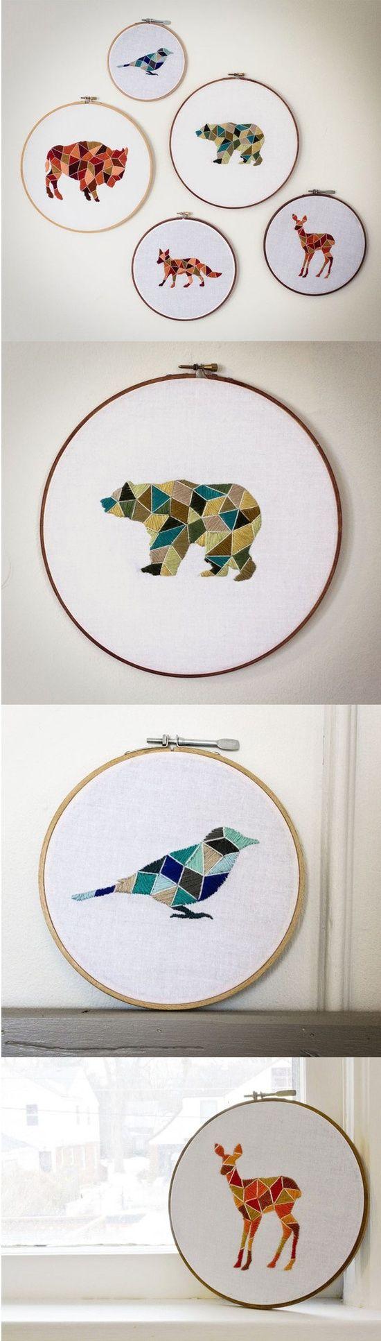 Geometric mosaic-style animal embroidery hoop designs