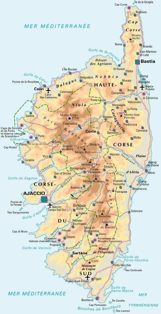 Carte De La Corse Detaillee Corse Carte Paysage Corse Corse