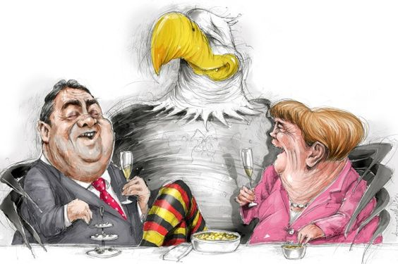 Einmaliges Wohlstandsniveau: Bundeskanzlerin Angela Merkel (r.) und Vizekanzler Sigmar Gabriel amüsieren sich prächtig