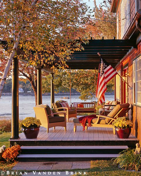 Porches lakes and decks on pinterest Beautiful fall front porches