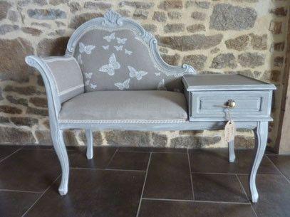 meuble téléphone patine beige et grise tissu lin et papillons galon en lin