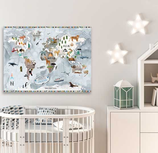 Arctic Art To Warm Your Heart Let This Wonderful World Map Become Your Little One S New Inspiration To Explore Art Wa Nursery Wall Art Art Theme Kids Room