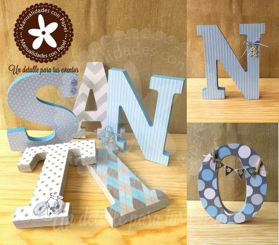 Hermosas letras para decorar la habitaci n del peque o santiago letras de madera decoradas - Letras de madera para decorar ...