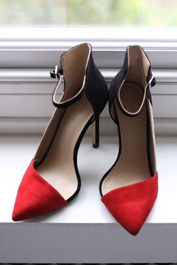 Black and red heeled shoes, latest trends.