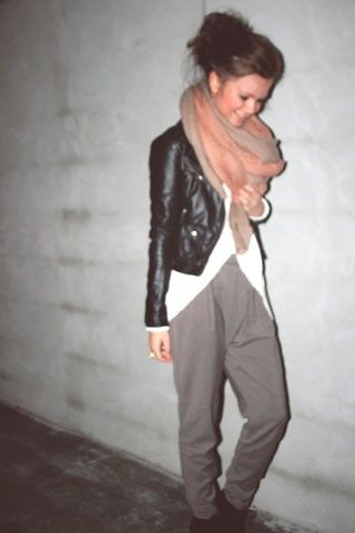 chunky scarf, leather jacket, menswear pant.