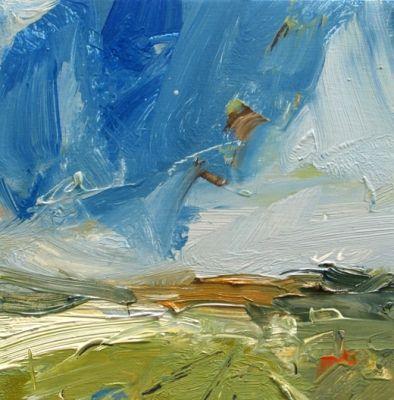 Louise Balaam 'Barley fields, late summer', oil on board, 20 x 20cm, £495