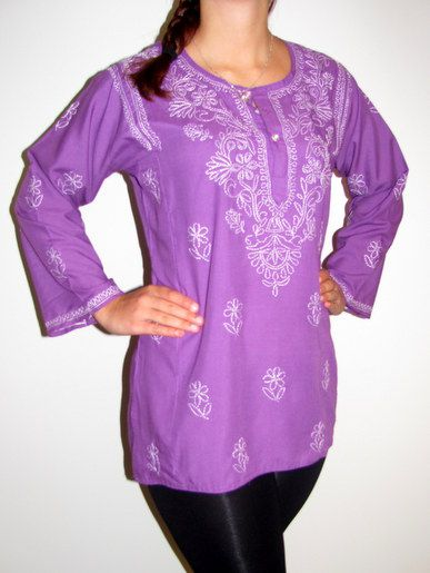 Our cotton kurta tunics and kurti tops are all hand-crafted in India. (People from India were the first to grow cotton!) Available in a wide selection of textures, colors, and sizes, these beautiful Indian tunics and tops are very comfortable and great for any season.