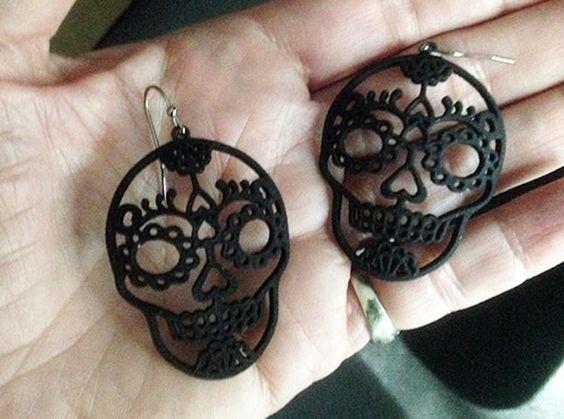 Day of the Dead Skull Earrings in Black Strong & Flexible