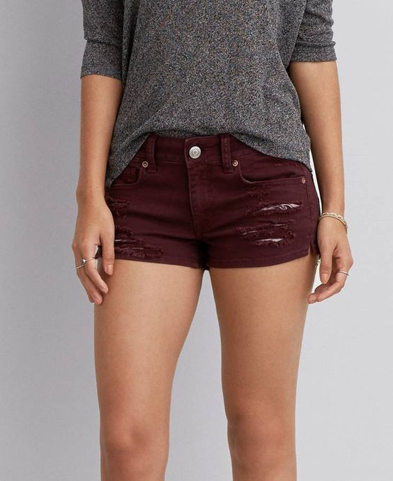 Maroon Denim Shorts