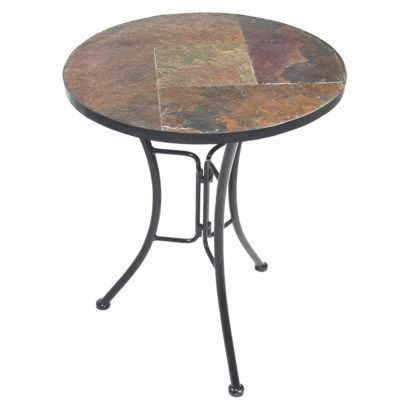 Slate Round Top End Table - Brown/ Black.Opens in a new window