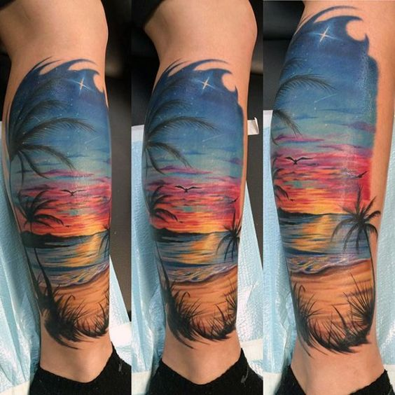 man-with-traditional-beach-and-sunset-tattoo-on-calf.jpg (600×600) Repin & Like. Thank you . Listen to Noel songs. Noelito Flow.