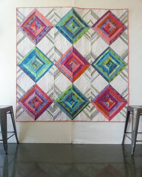 Whipper Snapper block quilt using skipping stones.  Anna Maria Horner: