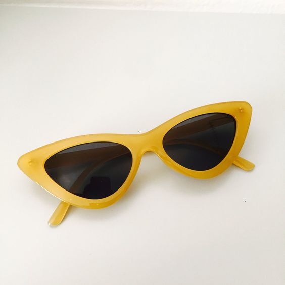 """Georgina D'angelo –– STYLE. press the *'visit' link to go to the original source. I was given permission to post. The """"Bronson Ave"""" 1963 Retro Mustard Cateye Dark Tinted • • - Depop"""