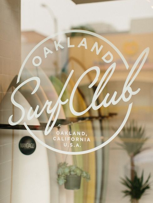 Main words (Surf Club) are a san serif script in italics.