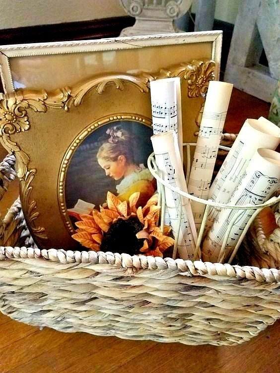 Gorgeous shabby chic vintage basket vignette with antique picture and vintage sheet music in urn #vintagesheetmusic Transitioning From Summer To Fall Home Tour Late Summer Early Fall