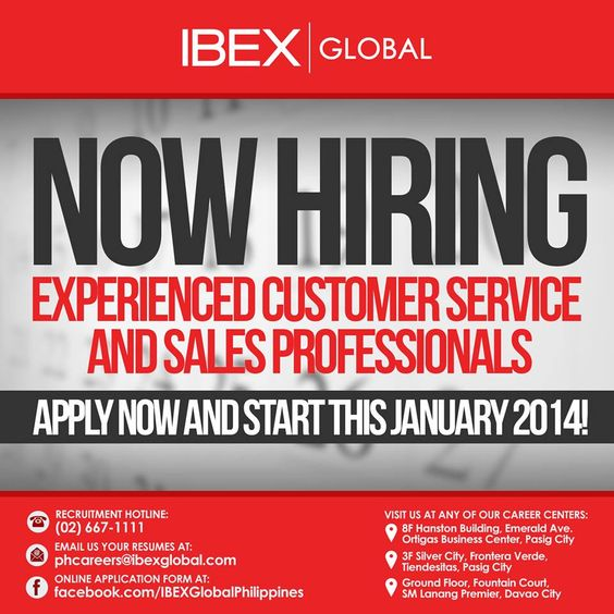 IBEX GLOBAL DAVAO Team is URGENTLY HIRING for the pioneering wave - now hiring flyer template